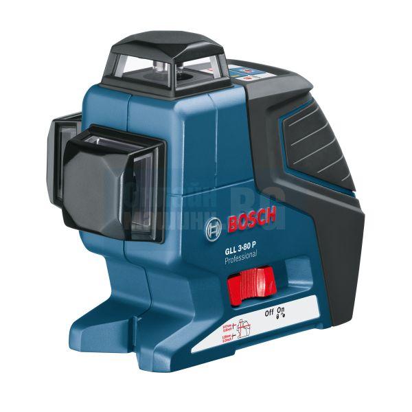 Линеен лазер Bosch GLL 3-80, ± 0,2 мм/м, 30 м