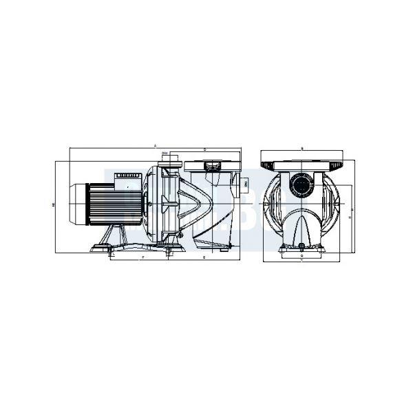 Самозасмукваща центробежна помпа за басейн DAB EUROSWIM 300 T - IE3 / 2200 W , 22 м , 42 m3/h /