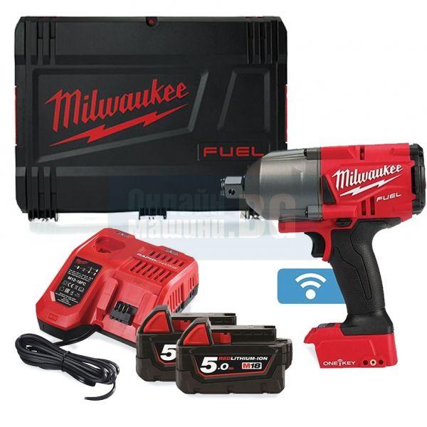 Акумулаторен гайковерт Milwaukee M18ONEFHIWF34-502X/18 V, 1627 Nm, безчетков мотор,куфар, 2 батерии и зарядно/