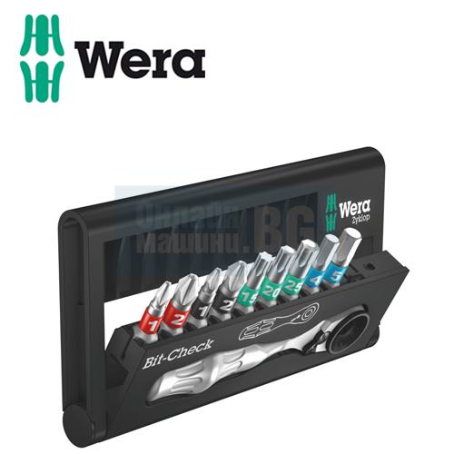 Комплект мини тресчотка с битове WERA / 10 части /