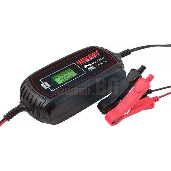 Зарядно устройство с микропроцесорен контролер Hecht 2018 / 6V-2 A , 12V-4 A , 3-120 Ah /