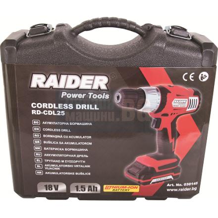 Акумулаторна бормашина Raider RD-CDL25 / 18 V, 1.5 Ah, 26 nm, с батерия, зарядно, куфар и аксесоари /
