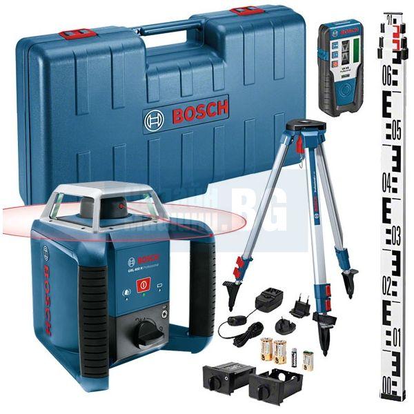 Ротационен лазарен нивелир Bosch GRL 400 H / 20 м , ± 0.08 мм/м , BT 152 Статив , GR 240 Лата, лазерен приемник LR1, куфар /