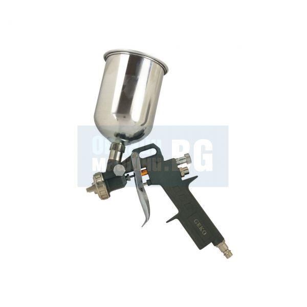Бояджийски пистолет с горно казанче GEKO G01107/ дюза 1.5 мм, 2- 6 bar, 600 ml /
