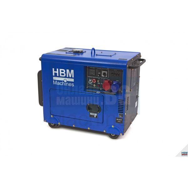 Обезшумен дизелов генератор HBM 7900 / 7.9 KW, 13 Hp, 1 x 400 V, 1 x 230 V, 1 x 12 V/