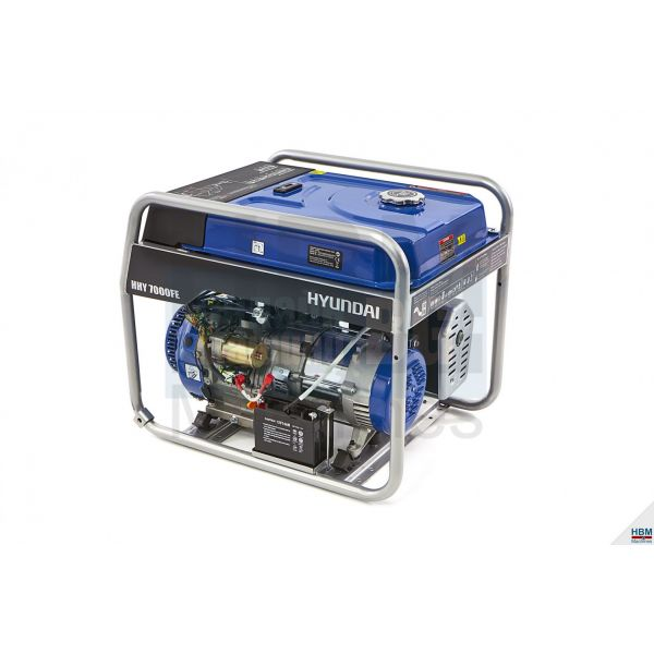 Монофазен бензинов генератор Hyundai HHY7000FH  / 5.5 KW,   2 х 230 V, 1 х 12 V,   ел стартер, 18л. резервоар/