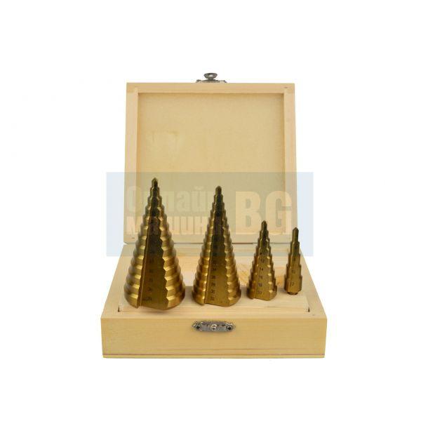 Комплект конусовидни свредла за ламарина GEKO G38503 /4-12, 4-20, 4-32, 4-39/