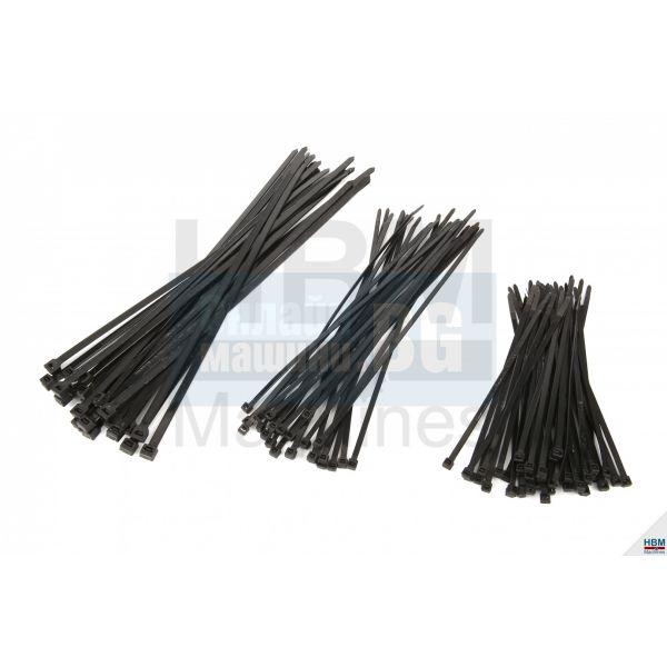 Кабелни връзки / свински опашки HBM /7,6 х 370 мм, 25 бр. / черни /
