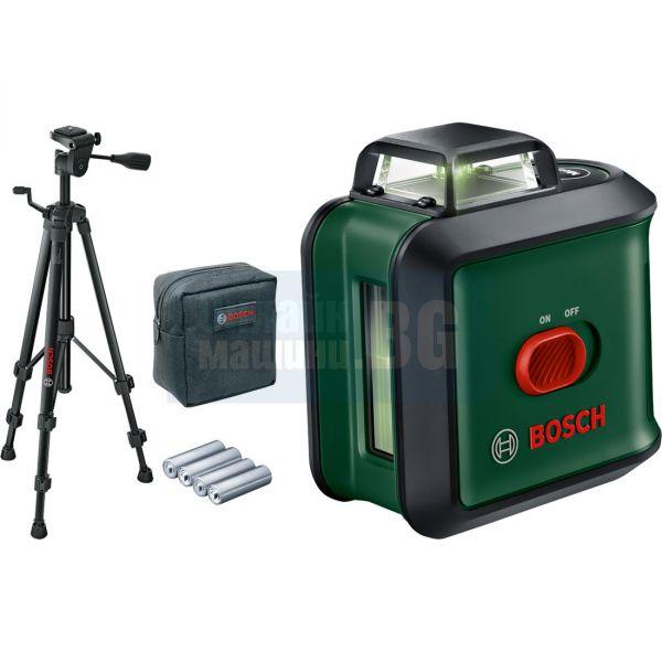 Лазерен нивелир (комплект) с 360° хоризонтална функция със зелен лъч Bosch Universal Level 360, 12 м, със статив